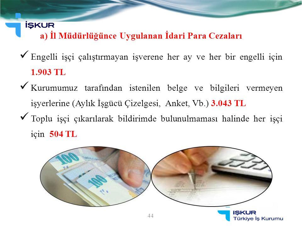 a) İl Müdürlüğünce Uygulanan İdari Para Cezaları