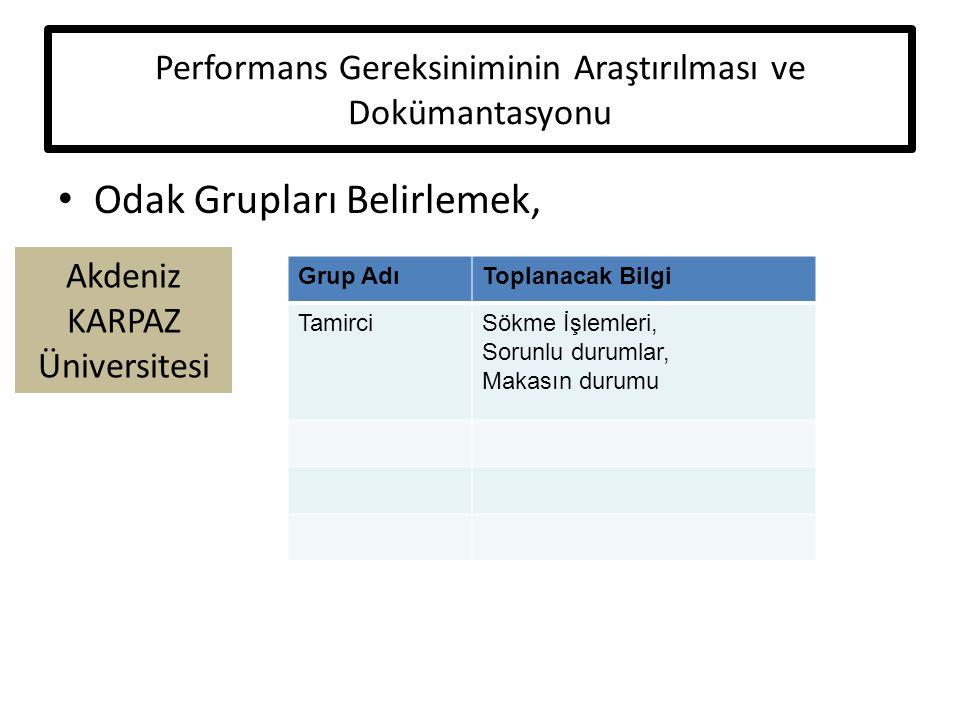 Performans Gereksiniminin Araştırılması ve Dokümantasyonu
