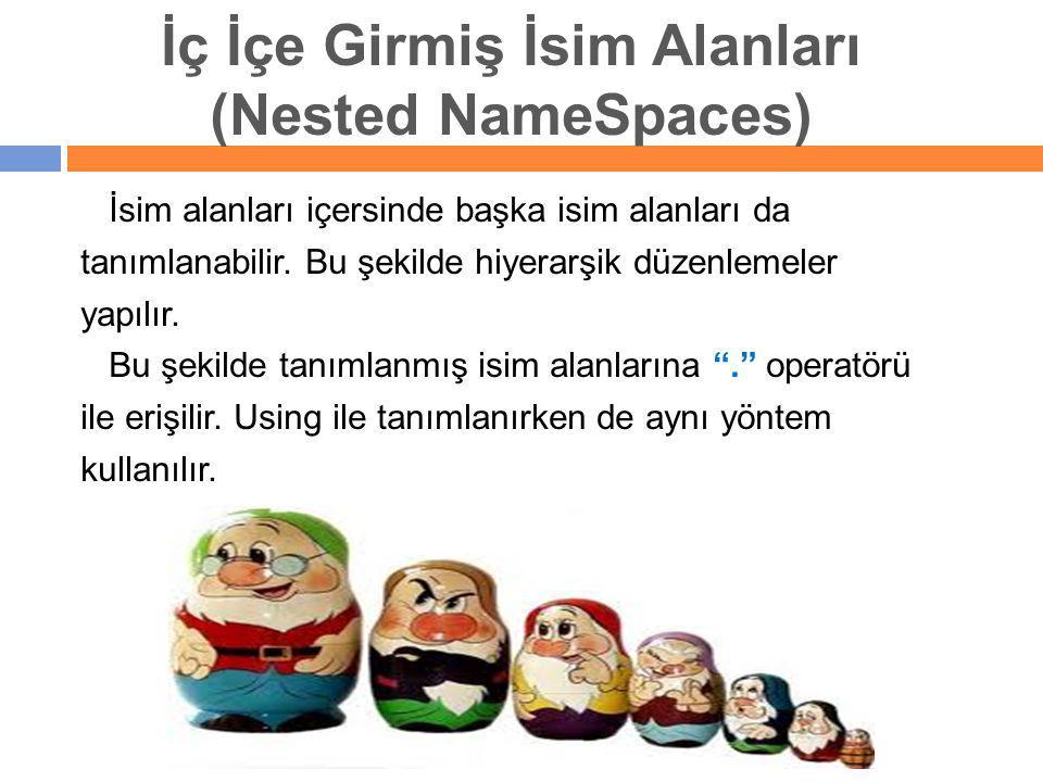 İç İçe Girmiş İsim Alanları (Nested NameSpaces)