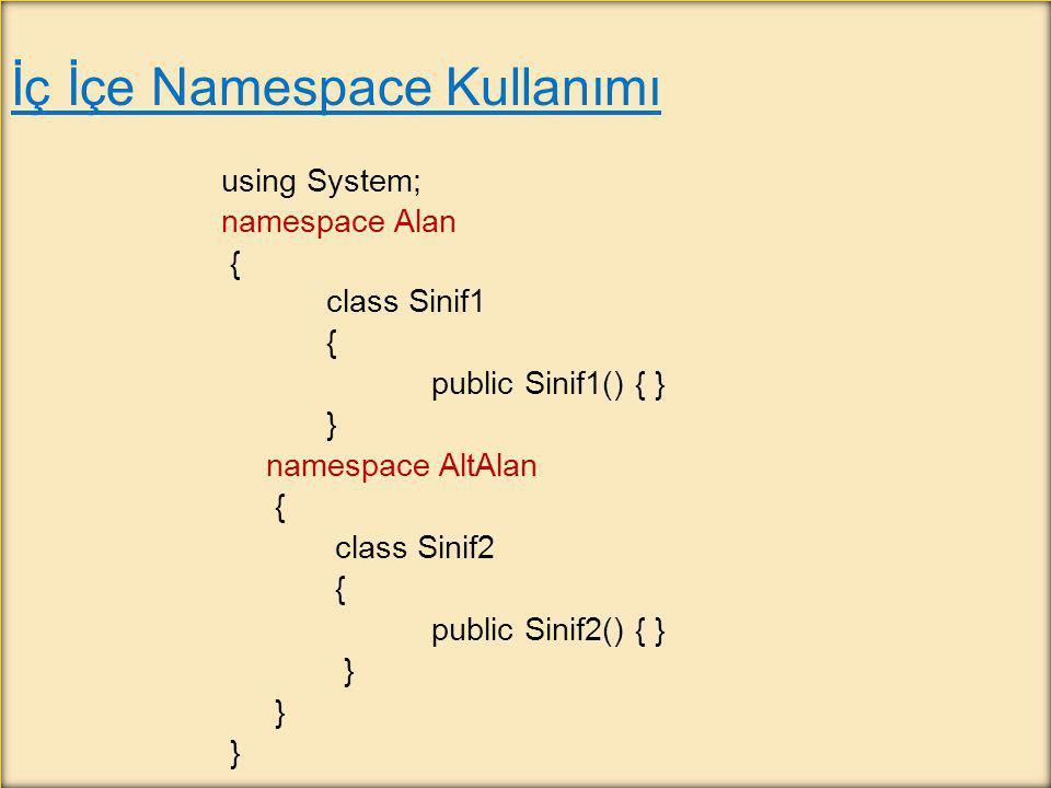 İç İçe Namespace Kullanımı