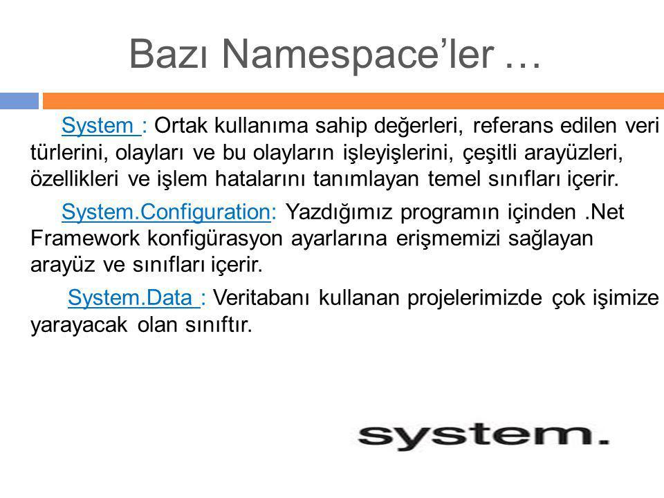 Bazı Namespace'ler …