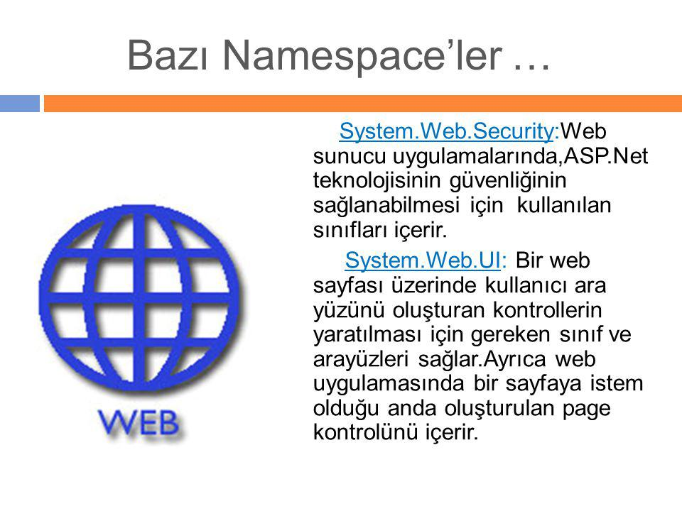 Bazı Namespace'ler …