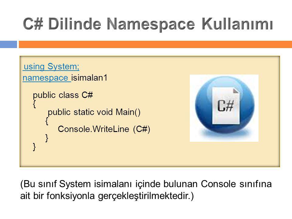 C# Dilinde Namespace Kullanımı
