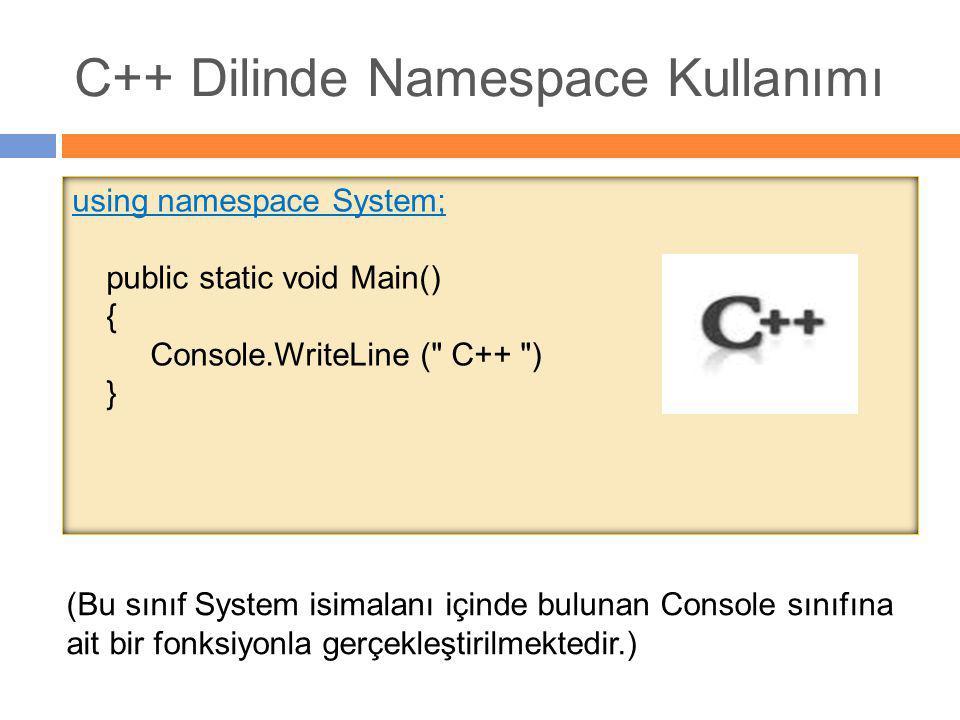 C++ Dilinde Namespace Kullanımı