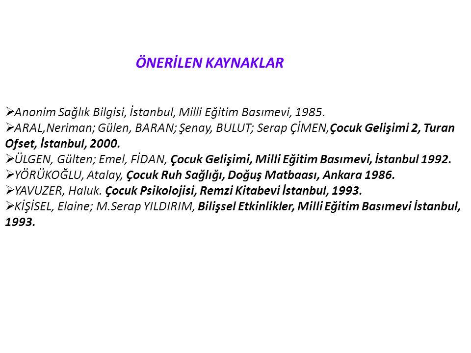 ÖNERİLEN KAYNAKLAR Anonim Sağlık Bilgisi, İstanbul, Milli Eğitim Basımevi, 1985.
