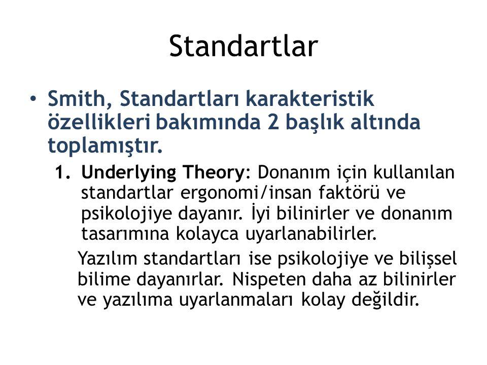 Standartlar Smith, Standartları karakteristik özellikleri bakımında 2 başlık altında toplamıştır.