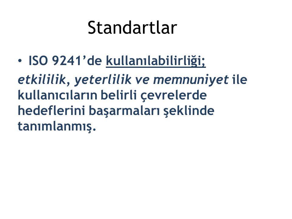 Standartlar ISO 9241'de kullanılabilirliği;