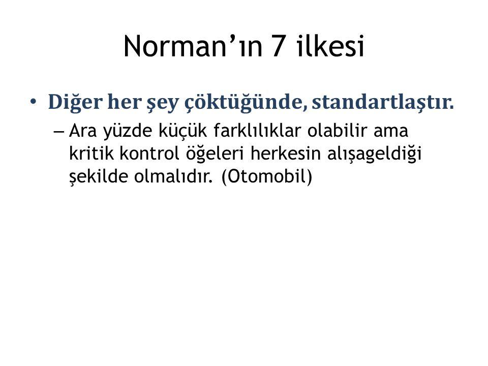 Norman'ın 7 ilkesi Diğer her şey çöktüğünde, standartlaştır.