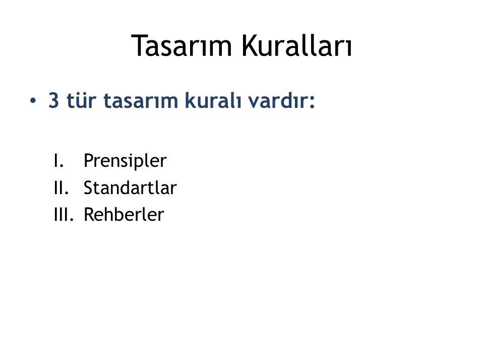 Tasarım Kuralları 3 tür tasarım kuralı vardır: Prensipler Standartlar