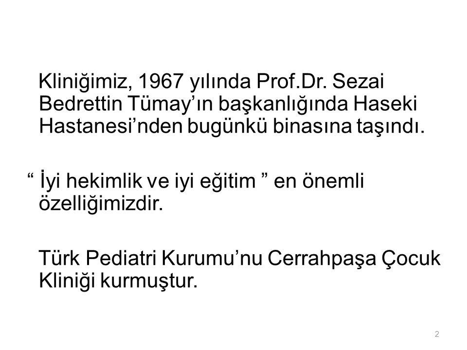 Kliniğimiz, 1967 yılında Prof. Dr