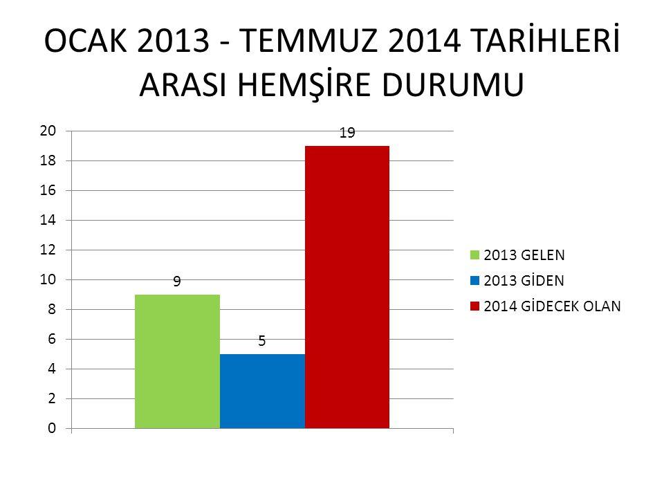 OCAK 2013 - TEMMUZ 2014 TARİHLERİ ARASI HEMŞİRE DURUMU