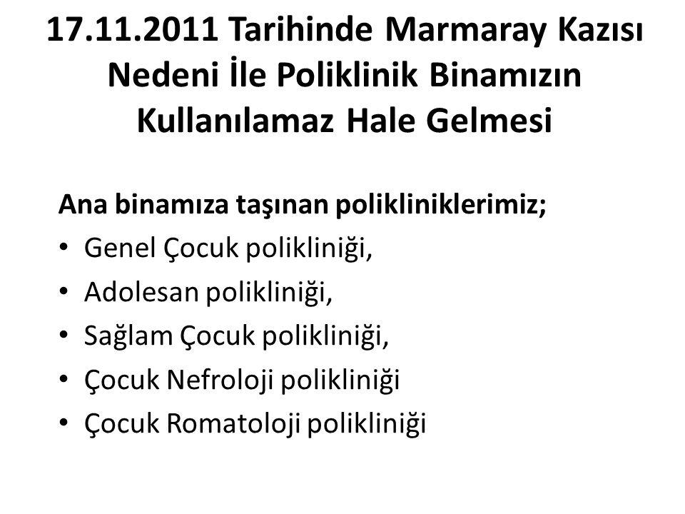 17.11.2011 Tarihinde Marmaray Kazısı Nedeni İle Poliklinik Binamızın Kullanılamaz Hale Gelmesi
