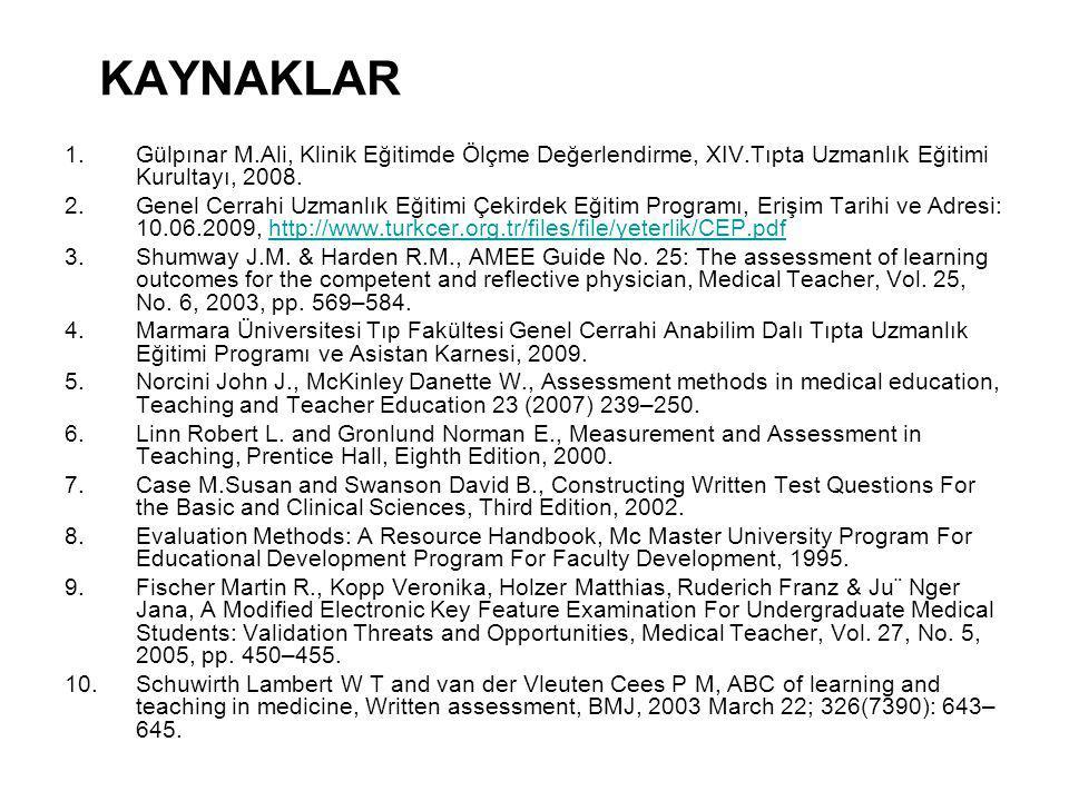 KAYNAKLAR Gülpınar M.Ali, Klinik Eğitimde Ölçme Değerlendirme, XIV.Tıpta Uzmanlık Eğitimi Kurultayı, 2008.