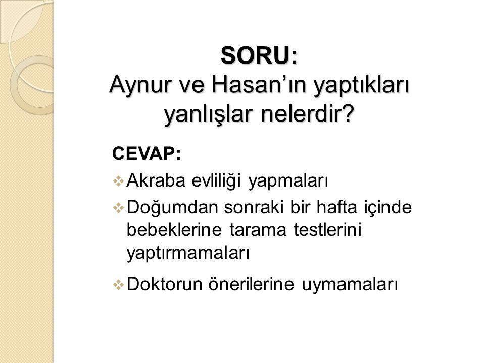 SORU: Aynur ve Hasan'ın yaptıkları yanlışlar nelerdir