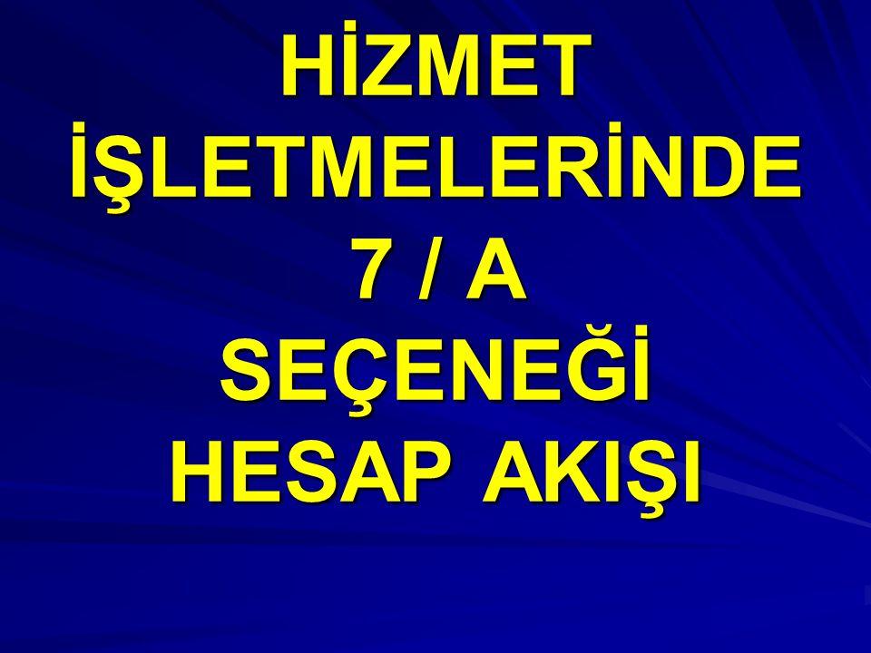 HİZMET İŞLETMELERİNDE 7 / A SEÇENEĞİ HESAP AKIŞI