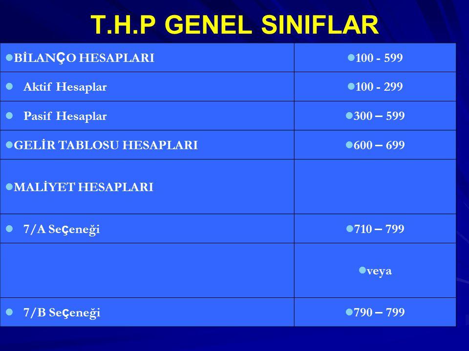 T.H.P GENEL SINIFLAR BİLANÇO HESAPLARI 100 - 599 Aktif Hesaplar