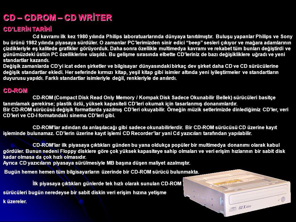 CD – CDROM – CD WRİTER