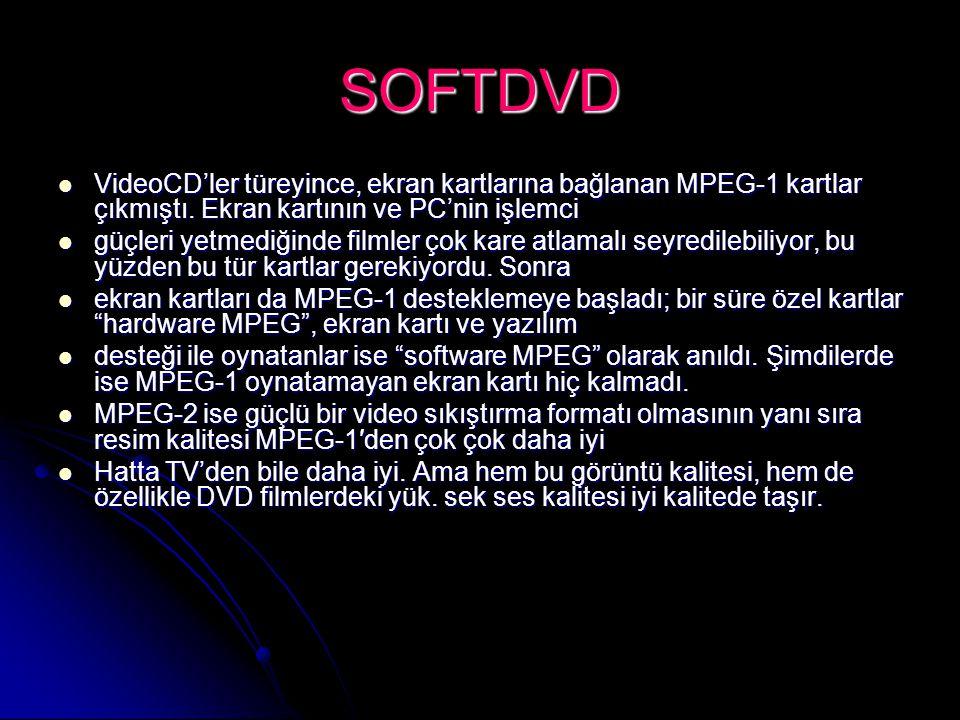 SOFTDVD VideoCD'ler türeyince, ekran kartlarına bağlanan MPEG-1 kartlar çıkmıştı. Ekran kartının ve PC'nin işlemci.