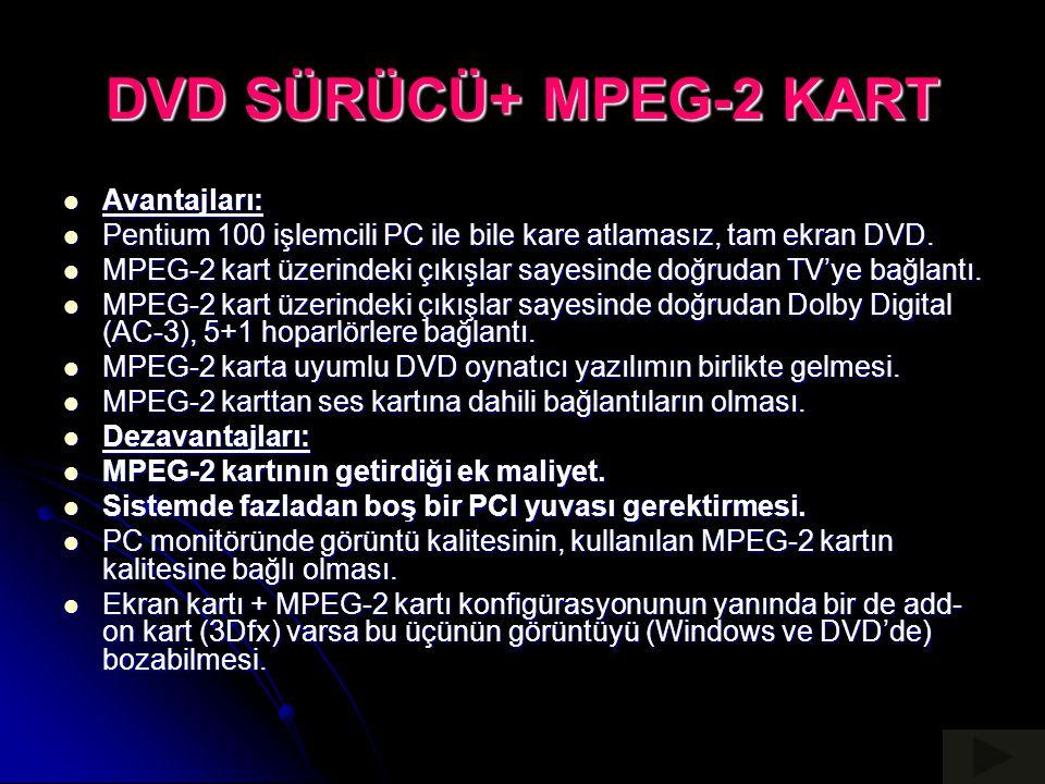 DVD SÜRÜCÜ+ MPEG-2 KART Avantajları: