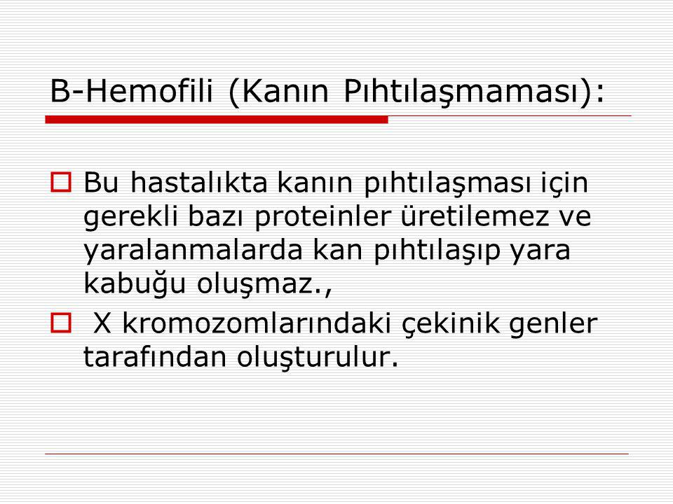 B-Hemofili (Kanın Pıhtılaşmaması):