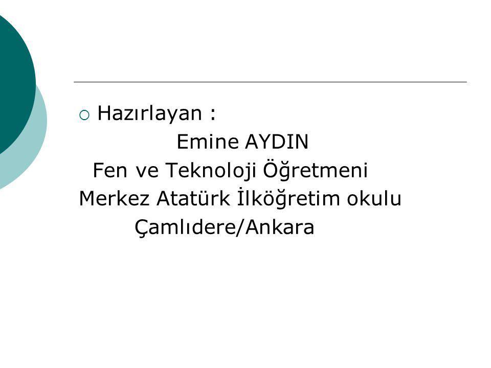 Hazırlayan : Emine AYDIN. Fen ve Teknoloji Öğretmeni.