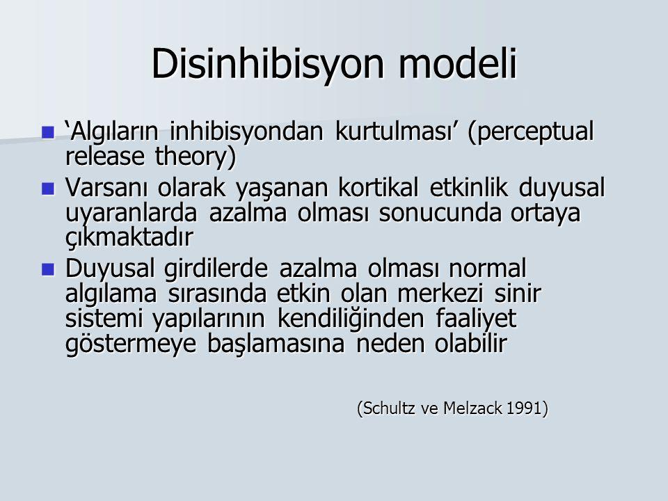 Disinhibisyon modeli 'Algıların inhibisyondan kurtulması' (perceptual release theory)