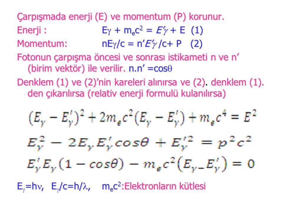 Çarpışmada enerji (E) ve momentum (P) korunur