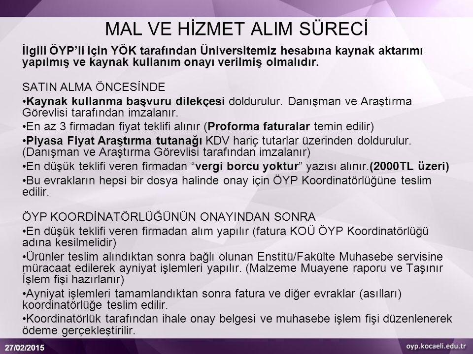 MAL VE HİZMET ALIM SÜRECİ