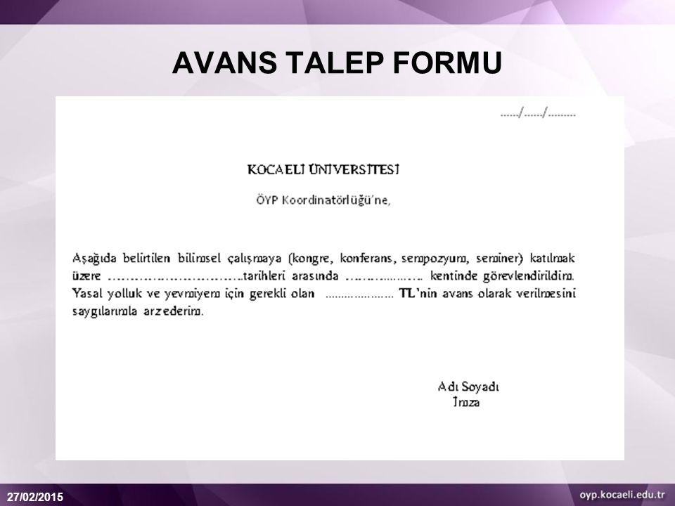 AVANS TALEP FORMU