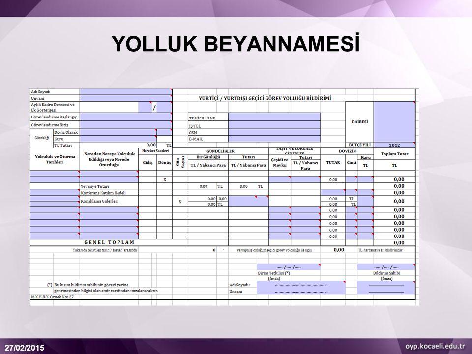 YOLLUK BEYANNAMESİ