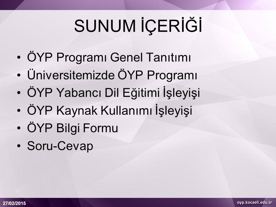 SUNUM İÇERİĞİ ÖYP Programı Genel Tanıtımı Üniversitemizde ÖYP Programı