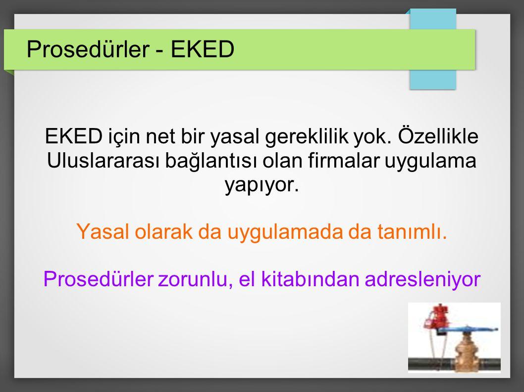 Prosedürler - EKED EKED için net bir yasal gereklilik yok. Özellikle Uluslararası bağlantısı olan firmalar uygulama yapıyor.