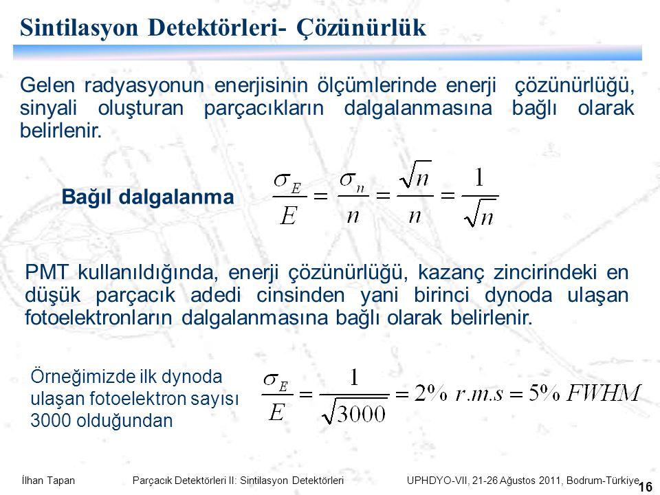 Sintilasyon Detektörleri- Çözünürlük