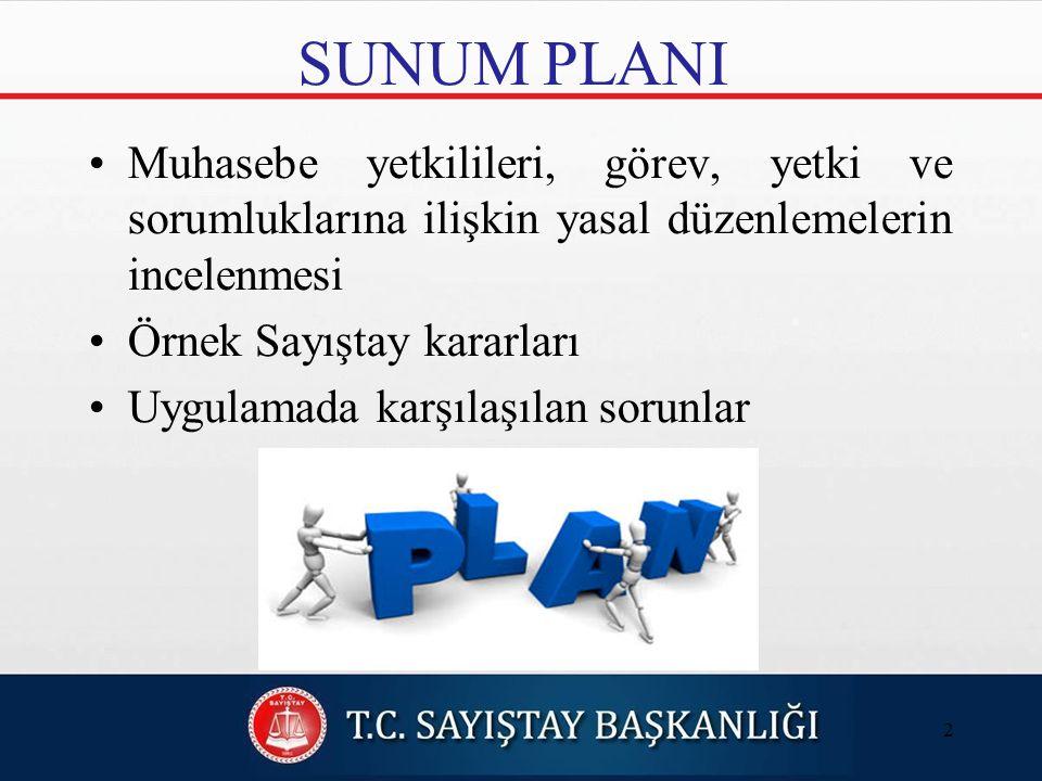 SUNUM PLANI Muhasebe yetkilileri, görev, yetki ve sorumluklarına ilişkin yasal düzenlemelerin incelenmesi.