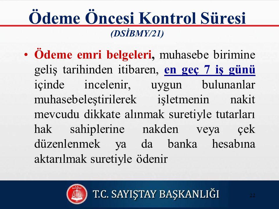 Ödeme Öncesi Kontrol Süresi (DSİBMY/21)
