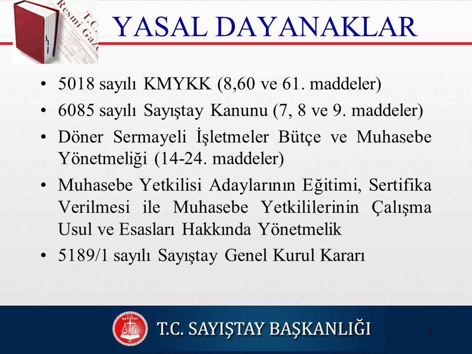 YASAL DAYANAKLAR 5018 sayılı KMYKK (8,60 ve 61. maddeler)
