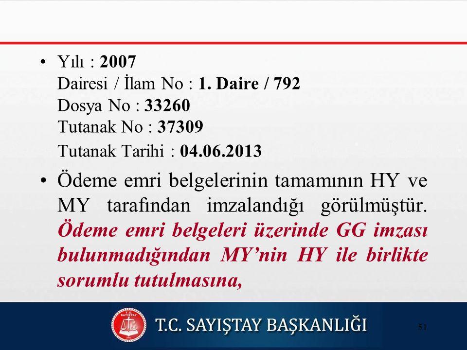 Yılı : 2007 Dairesi / İlam No : 1