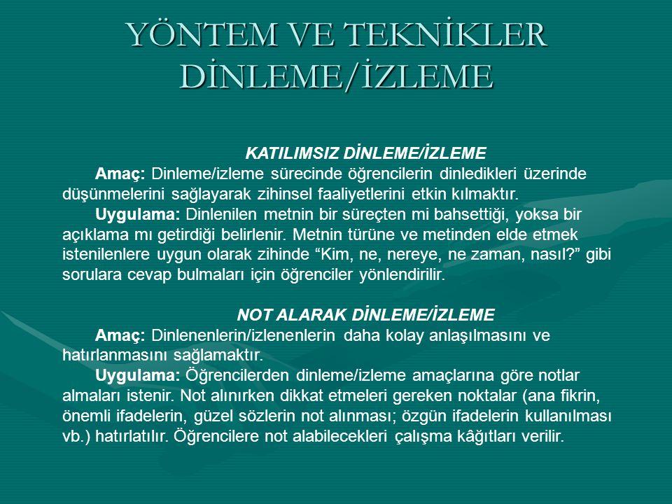 YÖNTEM VE TEKNİKLER DİNLEME/İZLEME