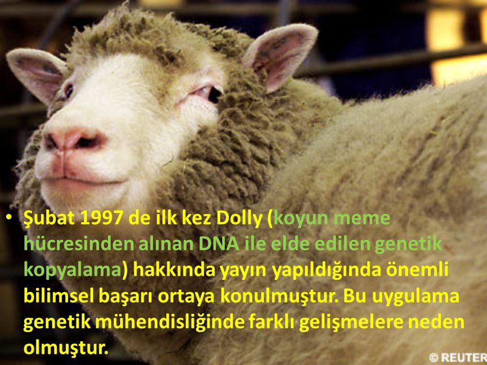 Şubat 1997 de ilk kez Dolly (koyun meme hücresinden alınan DNA ile elde edilen genetik kopyalama) hakkında yayın yapıldığında önemli bilimsel başarı ortaya konulmuştur.