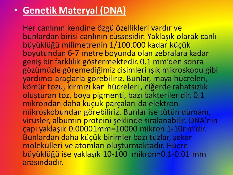 Genetik Materyal (DNA) Her canlının kendine özgü özellikleri vardır ve bunlardan birisi canlının cüssesidir.