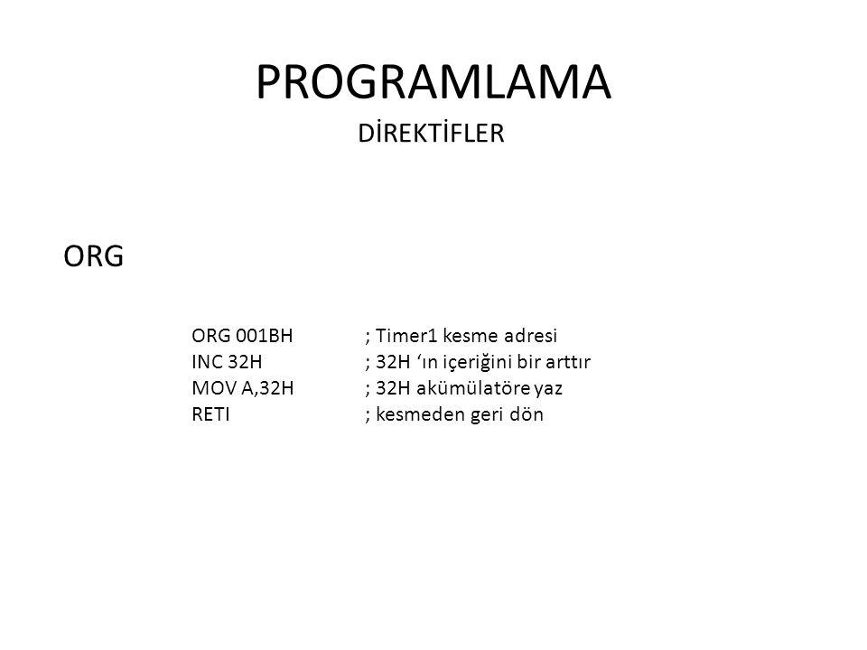 PROGRAMLAMA ORG DİREKTİFLER ORG 001BH ; Timer1 kesme adresi