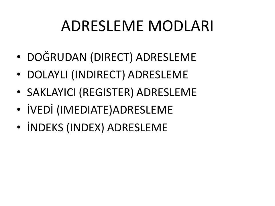 ADRESLEME MODLARI DOĞRUDAN (DIRECT) ADRESLEME