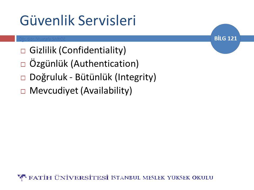 Güvenlik Servisleri Gizlilik (Confidentiality)