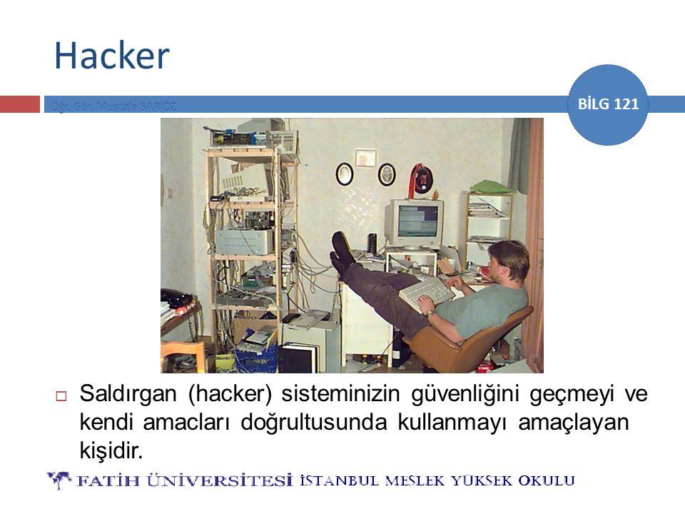 Hacker Saldırgan (hacker) sisteminizin güvenliğini geçmeyi ve kendi amacları doğrultusunda kullanmayı amaçlayan kişidir.