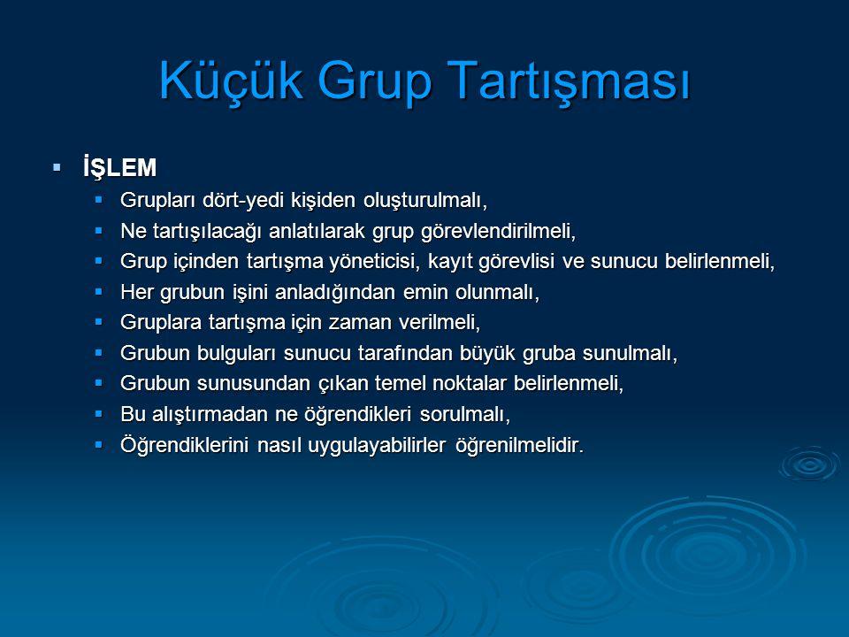 Küçük Grup Tartışması İŞLEM Grupları dört-yedi kişiden oluşturulmalı,