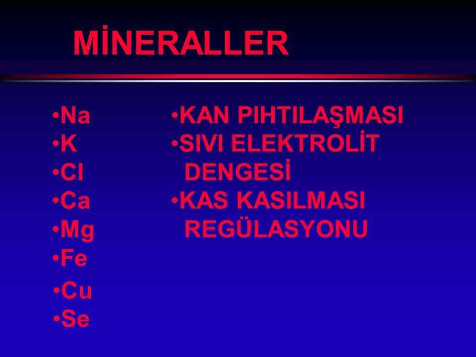 MİNERALLER Na K Cl Ca Mg Fe KAN PIHTILAŞMASI SIVI ELEKTROLİT DENGESİ