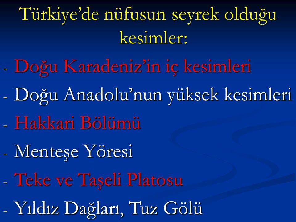 Türkiye'de nüfusun seyrek olduğu kesimler: