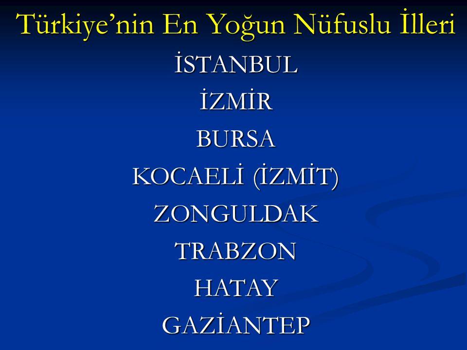 Türkiye'nin En Yoğun Nüfuslu İlleri