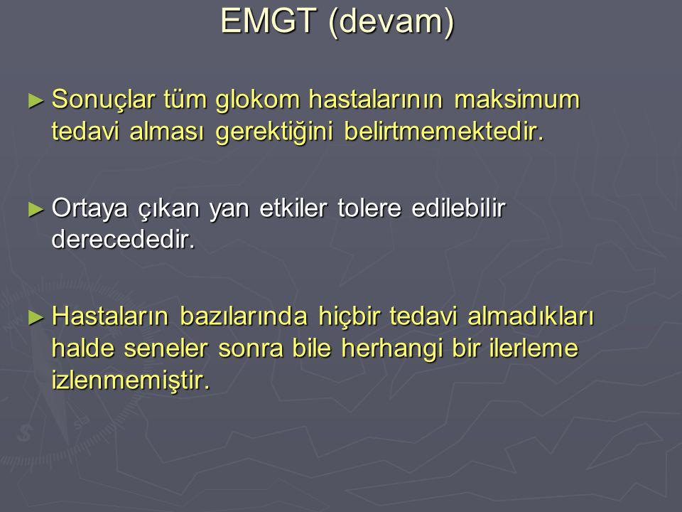 EMGT (devam) Sonuçlar tüm glokom hastalarının maksimum tedavi alması gerektiğini belirtmemektedir.