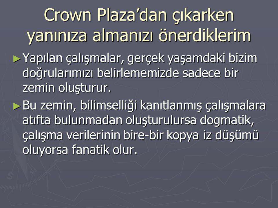 Crown Plaza'dan çıkarken yanınıza almanızı önerdiklerim